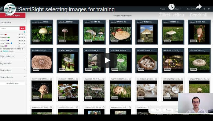 Selecting images for training
