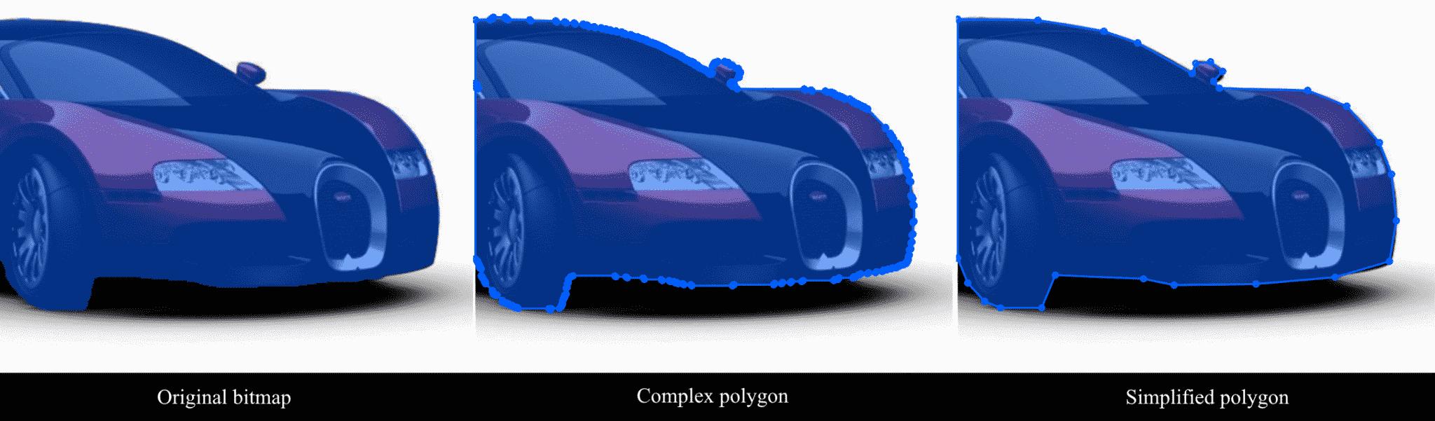 Original bitmap, auto complex polygon, automatic simplified polygon