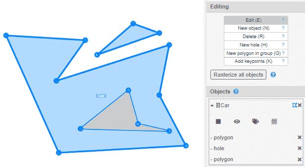 Polygon, hole edit