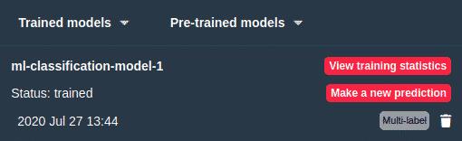 Trained models menu