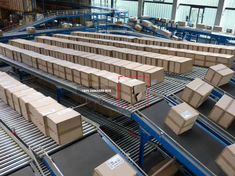 Damaged box detection at logistic centre