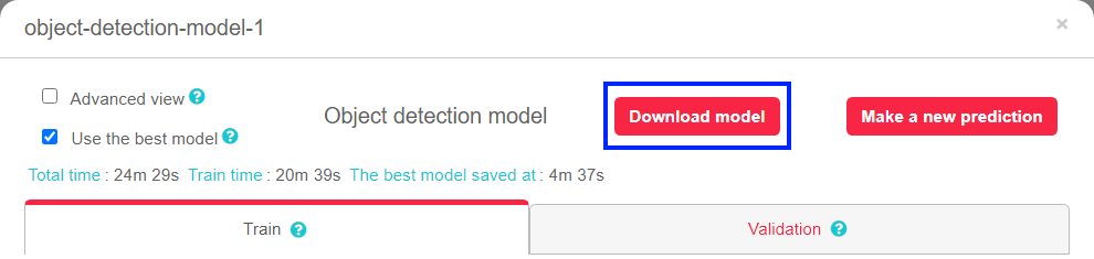 Model download - object detection model