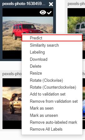 Right click predict- object detection