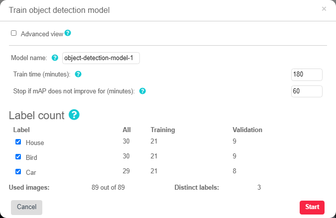Train object detection model